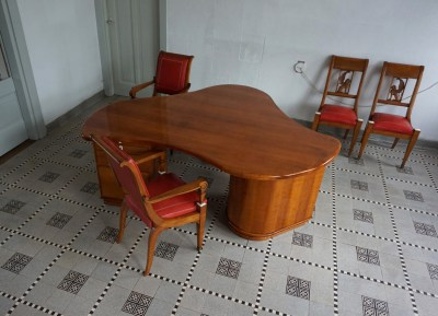 Art deco writing desk, bureau, chair, armchairs, organic shaped, style, Jean Royere, Paulo Buffa, Charles Dudout