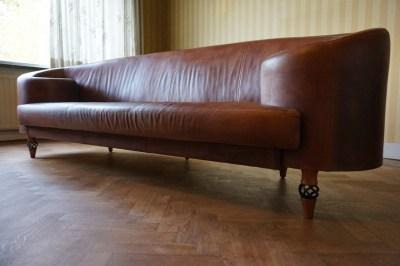 Bruin Leren Bankstel.Vintage Leather Gioconda Sofa Bench Canape By Maroeska Metz For