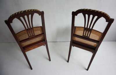 Antique, French, Louis, XVI, revival, mahogany, side, chairs, bronze, ornaments