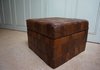 Retro-vintage-leren-patchwork-poef-opbergruimte-leather-stool-ottoman