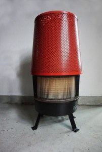 Retro vintage ronde nobel gaskachel, geperforeerd staal, nobel stove with perforated steel04