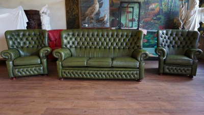 Springvale, Chesterfield, sofa, green, leather, fauteuil, armchair, vintage, 3 seater, groene,leren,bank