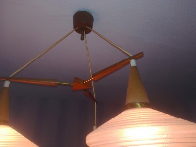 Teak, glass, Danish, triangle, pendant, cieling, light, chandelier, pastoe, hanglamp, vintage