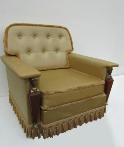 Vintage gold empire style fauteuil, easy chair-00004