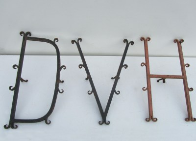 Antieke, gesmeed, stalen,  ijzeren, Letters, cast, iron, forged, steel, letters, alphabet