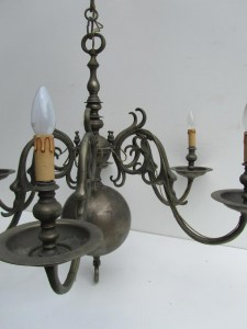 Antieke Vlaamse Bronzen Kroonluchter / Antique Dutch Flemish Bronze Chandelier