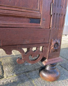 antique, Dutch, renaissance, low, cabinet, commode, kast, ebbenhout
