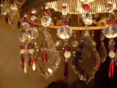 chandelier, vintage, french, glass, gilded, cascading, red, raspberry, framboise, louis, XVI, kroonluchter