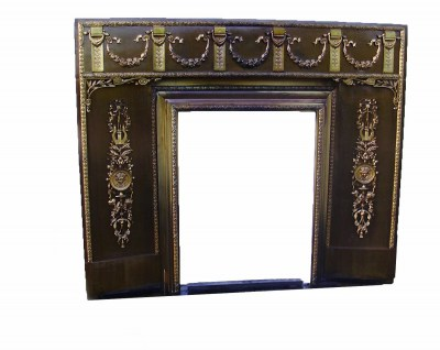 Antieke Franse haardombouw/voorzetschouw, antique French bronze, brass fire surround