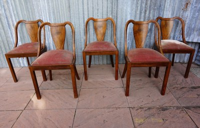 art, deco ,Franse, stoelen, eetkamerstoelen, 1930, noten, chairs, walnut, dining chairs