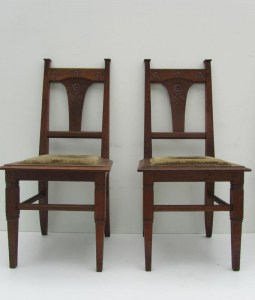 Set of 2 Jugendstil / Art Nouveau Oak Chairs, 1900