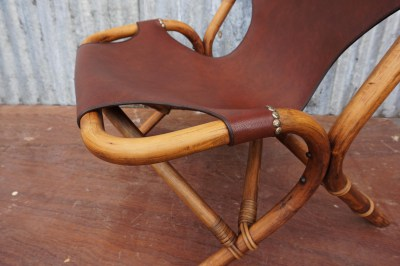 vintage, skai, lounge, fauteuil, bamboe, frame, jaren, 70, bamboo, chair, leatherette