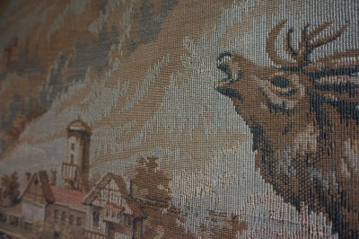 gobelin, wandkleed, wandtapijt, herten, bos, alpine, scene, tapestry, deer, forest, chalet, cabin, castle, belgium, berglandschap, mountains, europe