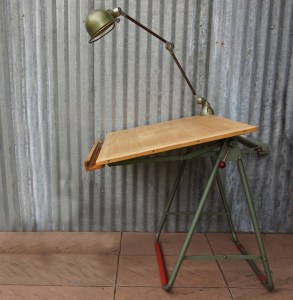 industrial vintage jielde lamp on drawing table, drafting table7