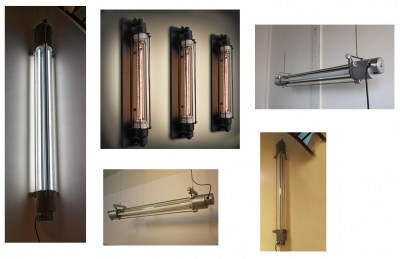 Industriele, vintage, XL, tube, buis, lamp, fabriekslampen, industrial, glass, wall
