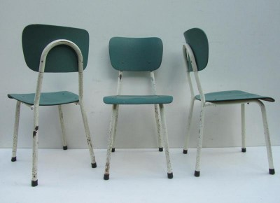 3 Industriele ijzeren stoelen, industrial iron chairs
