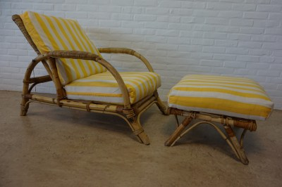 Vintage, retro, bamboo, rattan, lounge chair, armchair, mid-century, adjustable, stool, 1960s, Saint Tropez