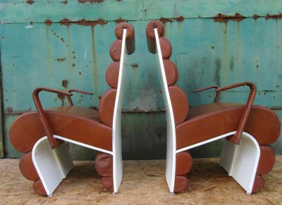 2 Vintage design stoelen, leer en polyester, vintage leather and polyester chairs, Joe Colombo style