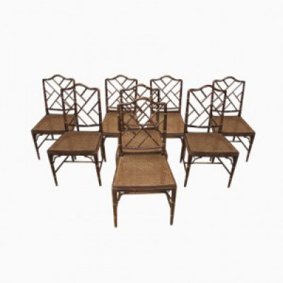 faux, bamboo, houten, stoelen, Mid-Century, dining, chairs