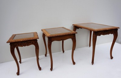 Trio, Salontafel, nest, Louis, XV, eiken, rotan, set van 3, Frans, nesting, tables