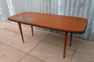 Old Teak Salontafel.Vintage Teak Coffee Table With Adri Tiles