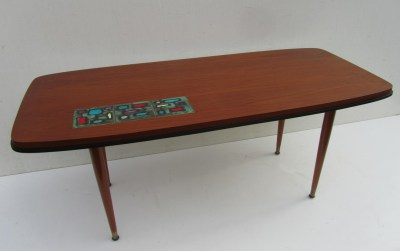Old Teak Salontafel.Vintage Teak Coffee Table With Adri Tiles
