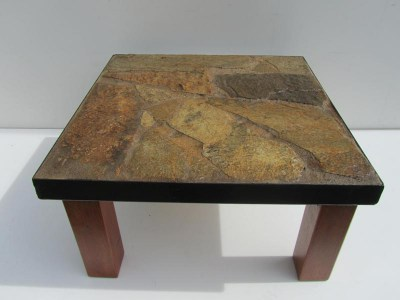 Vintage tegel tafel / salontafel, Brutalist stone Coffee Table