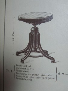 Thonet Piano Stool Tabouret Adjustable