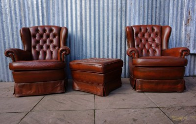 vintage, leren, leather, chesterfield, oorfauteuils,  wingback, armchairs, ottoman, 1980s
