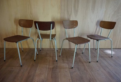 Industriele, vintage, pagholz, plywood, stoelen, schoolstoelen, chairs, schoolchairs
