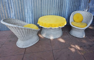 vintage, woven, wicker, rattan, cocktail, garden, set