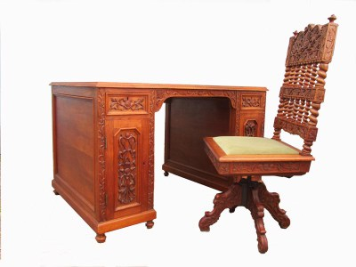 Vintage, Carved, Wooden, Colonial, Writing, Desk, Chair, koloniaal, bureau