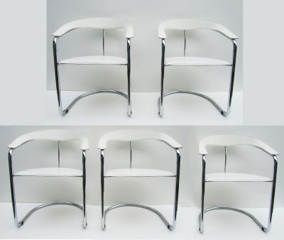 5 Mid-century Iitalian leather tubular chrome chairs stoelen