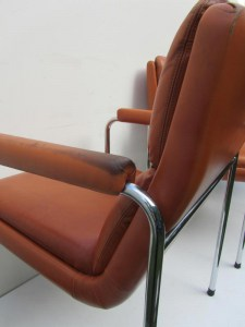 4 vintage cognac leren lounge stoelen, conference chairs, office chairs
