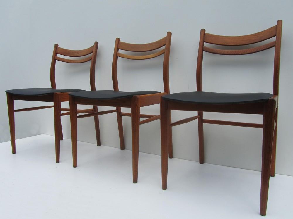 Vintage Design Eetkamerstoelen.Set Van 3 Scandinavische Houten Design Stoelen