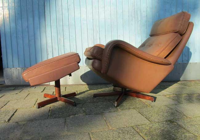 Leren Lounge Fauteuil.Bovenkamp Fauteuil Met Hocker Kofod Larsen