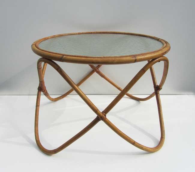 Rotan Ronde Tafel.Ronde Rotan Bamboe Salon Tafel Met Glas