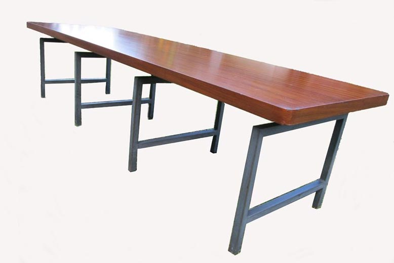 Teakhouten Eettafel Bank.Industrial Vintage Teak Coffee Table With Steel Base