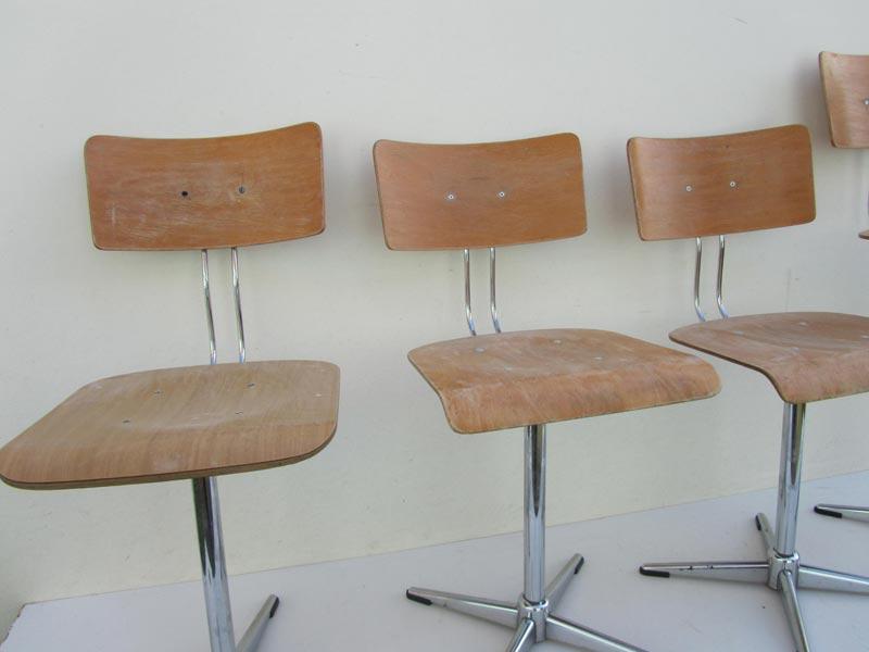 4 vintage industriele draaistoelen bureaustoelen schoolstoelen - Licht industriele vintage ...
