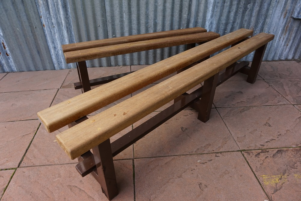 Industrial Vintage Wooden Benches School Benchesset Van 2