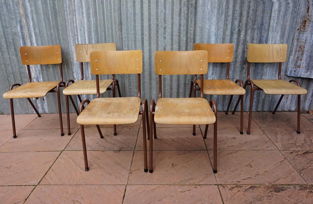 6 Cafe Stoelen.Industrial Vintage Tubax School Chairs Set Of 6
