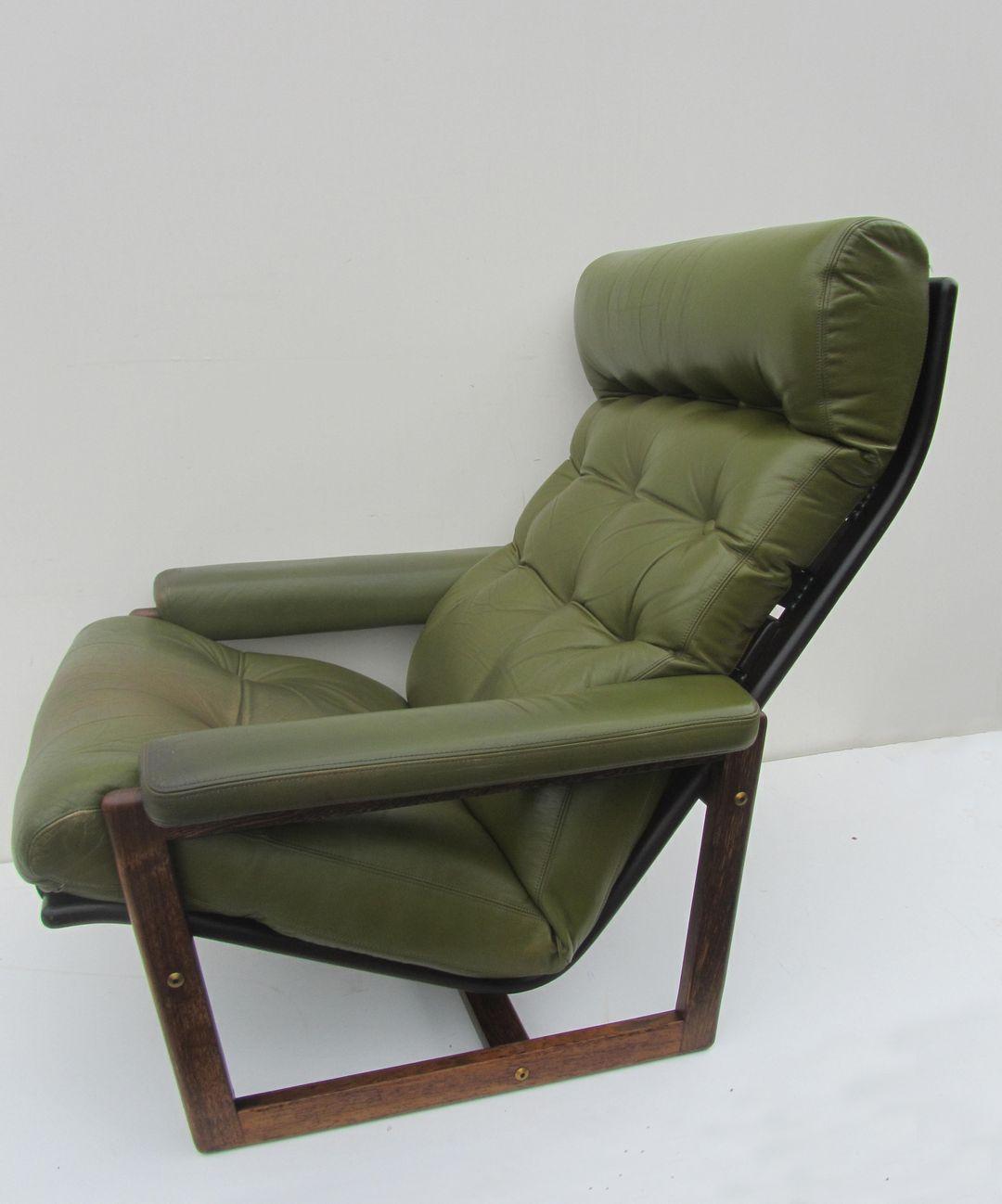Fauteuil Leer Groen.Vintage Scandinavische Goja Leren Fauteuil