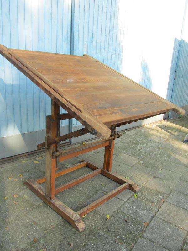 Industriele Vintage Houten Tekentafel Drawingtable