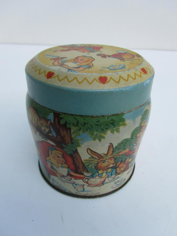 Vintage Blik Alice in Wonderland Thorne's Premier Toffee Tin Box