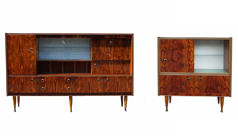 Wonderbaar Vintage retro wandmeubel, highboard, dressoir, vitrinekast PC-13