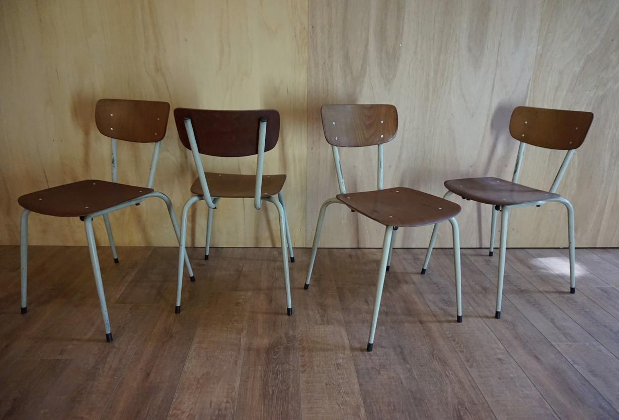 Industriele Vintage Stoelen.Industriele Vintage Plywood Stoelen Set Van 4