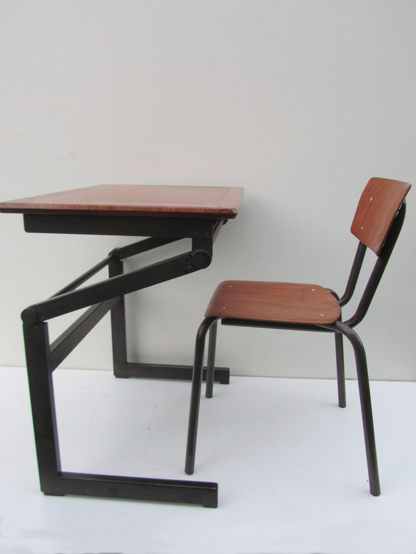 Tremendous Vintage Industrial Adjustable Plywood Desk Ocoug Best Dining Table And Chair Ideas Images Ocougorg