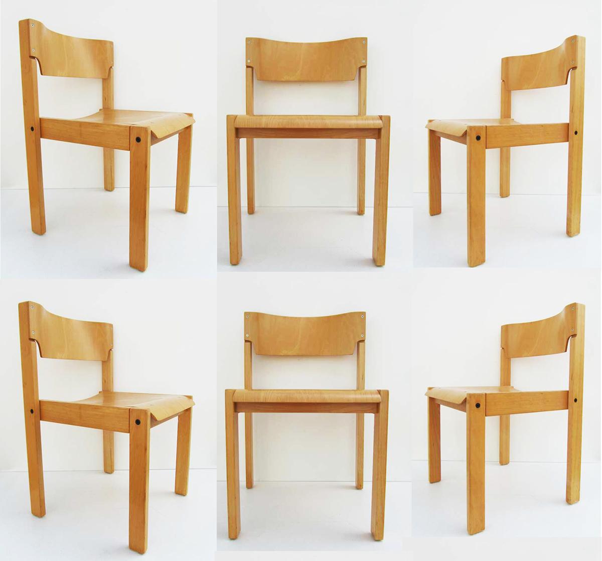 Scandinavian Minimalist Chairs Set Of 6