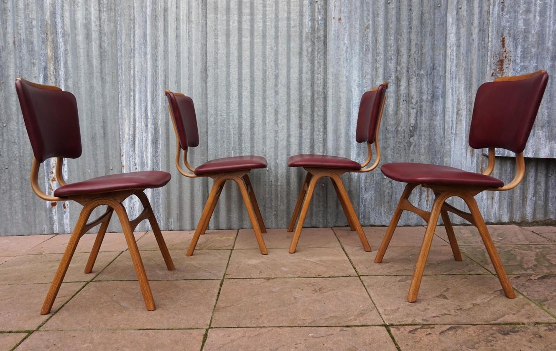 Retro Design Stoelen.Mid Century Vintage Scandinavian Dining Chairs Set Of 4
