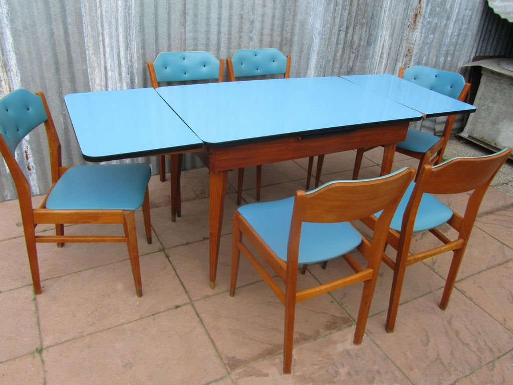 50s 60s Mid Century dining set, 6 chairs and extendable table with 2 ...